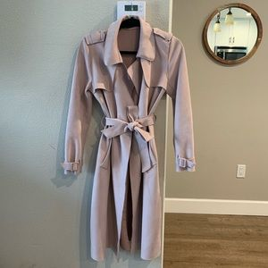 Blush pink Zara basic long coat
